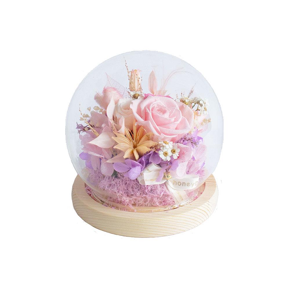 水晶球鐘罩-玫粉